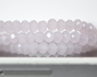 Faceted Rondelle Glass Beads 3x4mm Pink 145pcs / (BZ04-26)