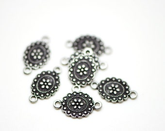 Flower Connector Antique Silver 18x10mm -10104 / 20Pcs