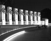 World War II memorial Washington DC black and white photograph