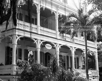 Key West house black and white architecture photograph