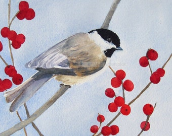 "chickadee watercolor painting archival print 8"" x 10"""