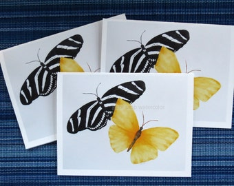 black and white butterfly yellow butterfly blank cards set of three watercolor