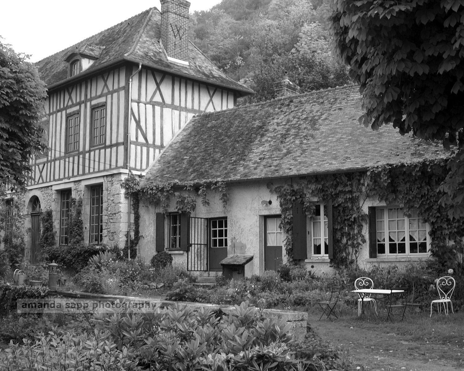 French country house giverny france black and white photograph for French country homes in france