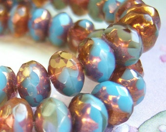 Sky blue and amber givre shiny picasso Czech glass 6x8mm rondell bead lot of (12) - BB144