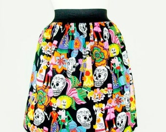 Catrinas and Catrinos Day of the Dead Pleated Skirt