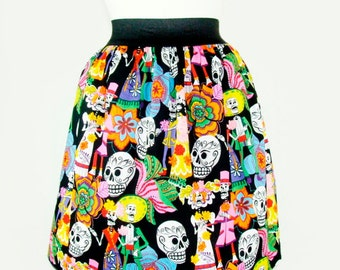 ON SALE !!!Catrinas and Catrinos Day of the Dead Pleated Skirt