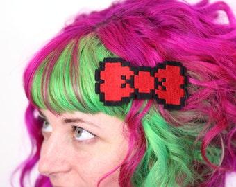 8 Bit Bow Hair Clip, Pixel Bow, Various Colours