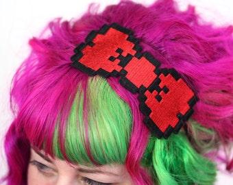 8 Bit Bow Headband, Pixel Bow, Various Colours