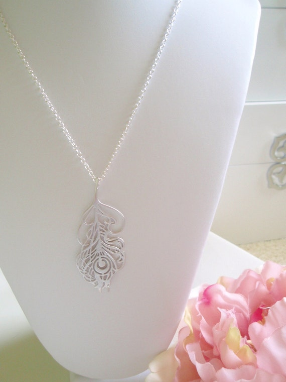 Silver Peacock Feather Pendant Necklace