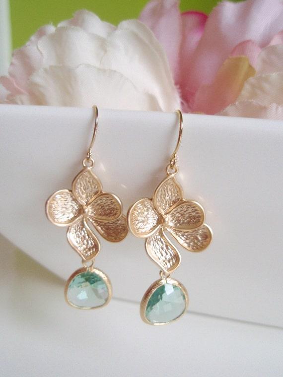 Gold Magnolia Flower - Prasiolite - Czech Glass Earrings