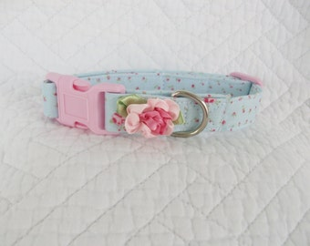 Shabby Chic Pink Roses on Blue Fabric with Cabbage Rose Flower   Dog Collar