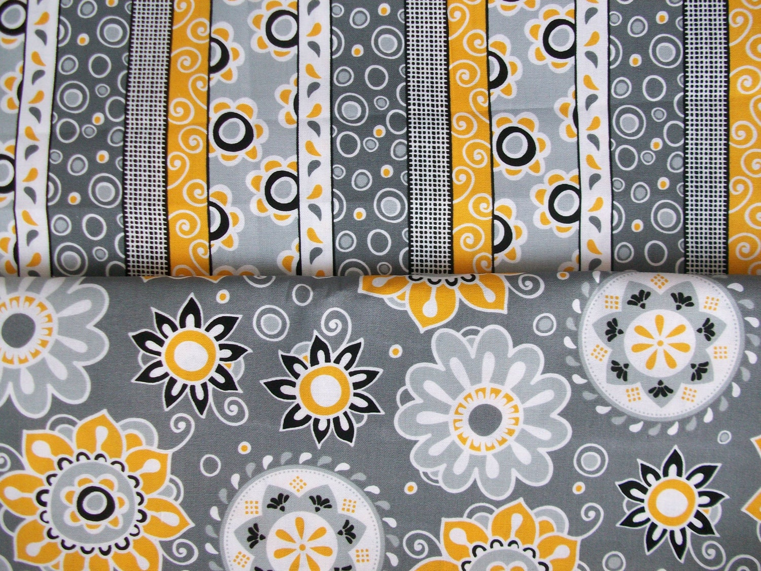 grey yellow white black floral and stripe print cotton. Black Bedroom Furniture Sets. Home Design Ideas