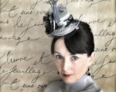 Steampunk hat in silver satin and black Chantilly lace. Très chic Edwardian and feminine glamour. Steampunk. Victorian.