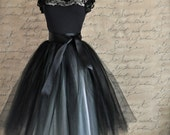 Tulle tutu skirt for women in black and silver. Ballerina skirt