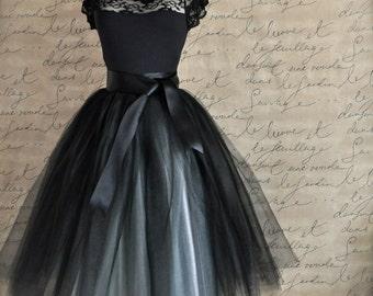 Tulle tutu skirt for women in black and silver. Ballerina skirt