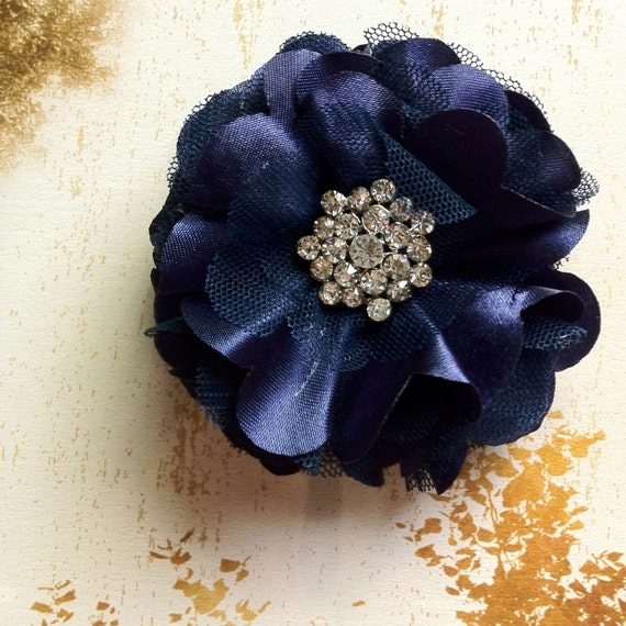 Tulle and satin flower puff rhinestone clip and pin in navy blue. Wedding accessory.