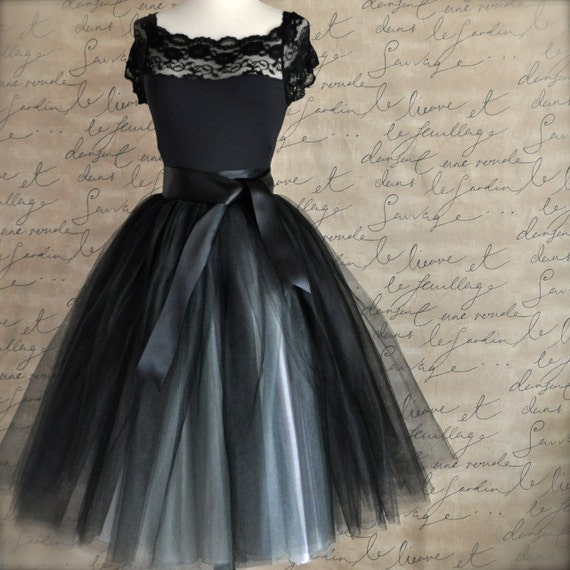 black and silver tulle tutu skirt for womena by