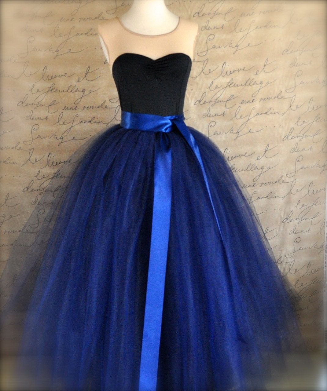 Full length navy tulle skirt navy tulle lined with black for Blue dresses to wear to a wedding