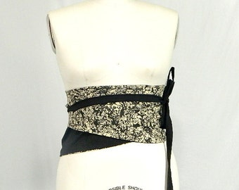 Plus Size Obi Wrap Corset Belt  Black and White