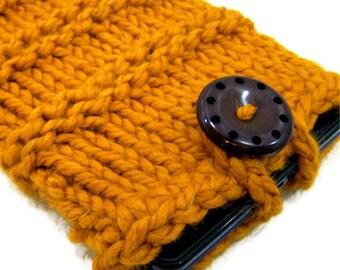Knit Case Sleeve IPad Mini, Kindle Fire Case, Back to School, E Reader Case, Knit IPad Mini Case, Chunky Knit Kindle Sleeve, in Mustard Gold