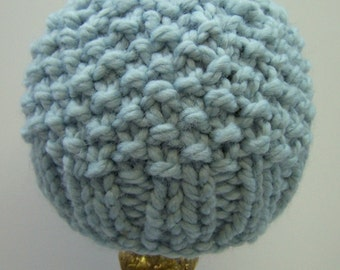 Chunky Knit Little Boy Hat, Blue Knit Toddler Boy Beanie, Warm Knit Boy Hat in Light Blue, Pale Blue Baby Toque, Chunky Knit Baby Beanie,