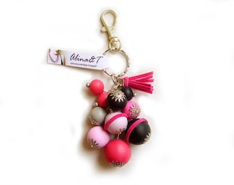 Women Keychain Bag Decoration, Pink Black Bubble Keychain, Raspberry Milk Shake - Bubble Candy Collection - Limited Edition Keychains