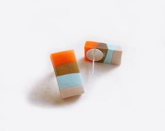Pastel Stripe Polymer Clay Earrings in Orange, Aqua, Nude, Brown Stripes - Geometric Handmade Post Earrings - Eat Me NOT Collection