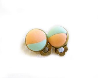 Mint Peach Bubble Clip On Earrings - Polymer Clay Cabochon Handmade Earrings - Simple Everyday Chic