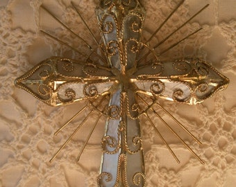 Vintage and Magical Gold Tone Wire Filigree & Mica Hanging Crucifix
