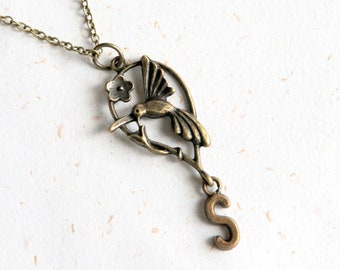 Custom Initial Bird Necklace  (N317) - Choose your own letter