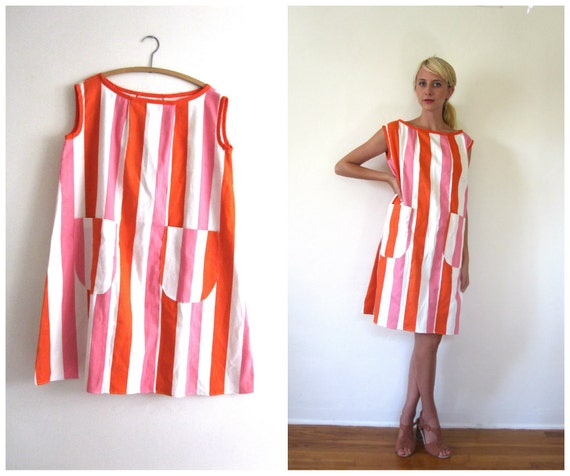Vintage 1960's Striped Tent Dress // m - xxl