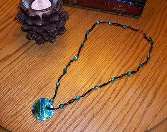 Crocheted Glass Pendant Necklace