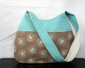 The Millie Handbag by Nstarstudio - Hobo Shoulder Sling Purse- Teal Floral, Cream and Tan Cotton