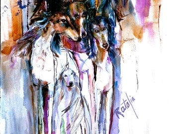 Saluki Gang Watercolor dog Print SIGNED by the Artist Caarol Ratafia DOUBLE MATTED to 16x20