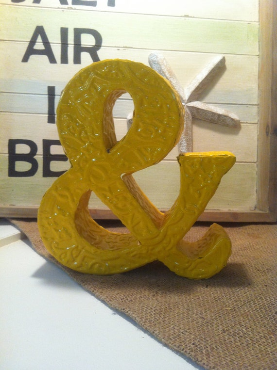 Items similar to ampersand sign painted glossy mustard for Ampersand decoration etsy