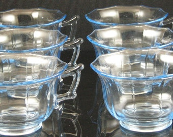Set of 6 Vintage Cambridge Decagon Willow Blue Cups