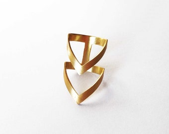 gold chevron ring - 24K gold plated bronze ring -  statement ring - gold statement ring double V ring gold boho ring gift for her