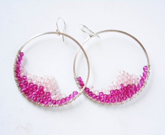 wire wrapped sterling silver hoop earrings fuchsia pink crystal beads