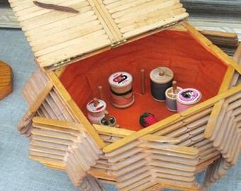 Sewing Basket , Sewing Storage , Folk Art , Box , Basket , Tramp Art , Wooden , Sewing Storage Box , Primitive Basket , Handmade