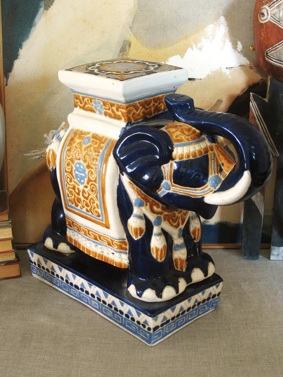 Vintage Ceramic Elephant Garden Stool Asian Persuasion