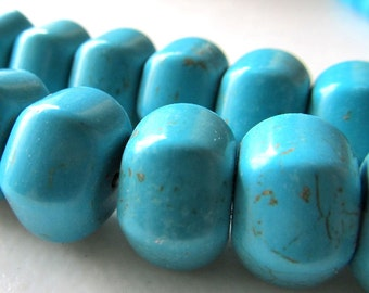 Turquoise Beads 14 X 10mm Aqua Blue Turquoise Carved Rondelle Hexagon Melons - 6 Pieces