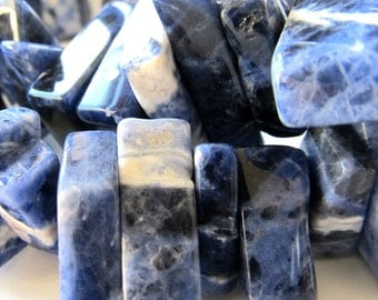 Sodalite Beads 20 x 10mm Swirl Smooth Royal Blue & White Sodalite Freeform Slabs - 8 Pieces