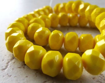 Czech Glass Beads 9 x 5mm Opaque Butter Yellow Faceted Rondelles - 12 Pieces