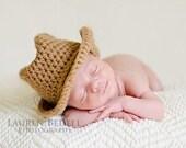 Crochet cowboy hat, crochet baby hat, children clothing, crochet newborn hat, baby hat, newborn photo prop, light brown, pick colors