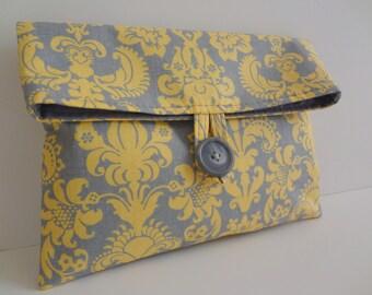 READY TO SHIP Bridesmaid Clutch Makeup Bag - Gray and Yellow Damask - Size Medium