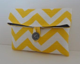 READY TO SHIP Yellow Chevron Makeup Bag Clutch Bridesmaid Clutch  Size Medium