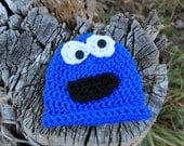 Monster Hat For Newborn, Toddler, Teen, or Adult Cookie Monster inspired Hat