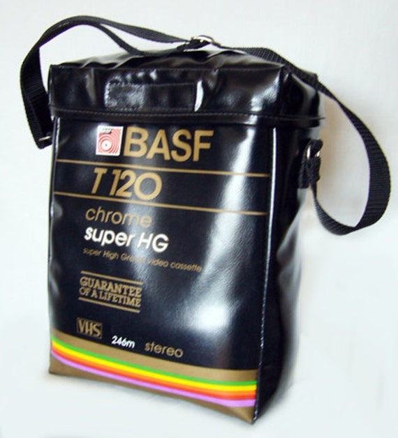 Vintage VHS BASF Video Cassette Bag / Case - Gary & Wyatt Collection, 80's, Hipster