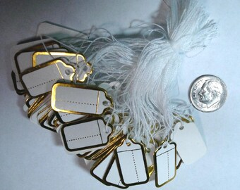 """100 Gold Foiled Paper Price Tags with String for Attachment  9/16"""" X 1"""" (14MM X 26MM) pt004"""
