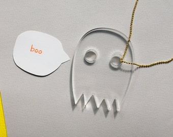 SALE - Ghost Necklace - Halloween Kawaii Jewelry - Clear Laser Cut Acrylic Pendant - Boo Fall Fashion - Paranormal Phantom